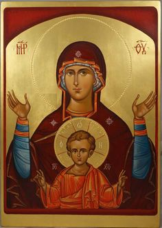 Theotokos of the Sign (Oranta) - This is a premium quality icon made with pure 23K gold leaf. Painted using traditional technique - egg tempera, lime wood panel with slats on the back, varnish, 23 karat gold leaf. About our icons BlessedMart offers hand-painted religious icons that follow the Russian, Greek, Byzantine and Roman Catholic traditions. We