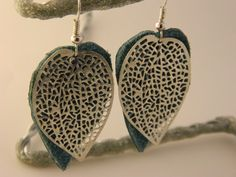Leather and Silver Filigree Leaf Earrings by NativePrideCreations, $5.99