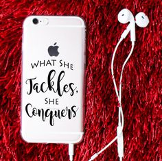 What She Tackles, She Conquers - Gilmore Girls Inspired iPhone 6 & 6s Clear Phone Case - Richard Gilmore Quote - Custom Color Phone Case by RoseCrownCo on Etsy