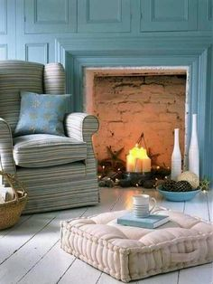 Candles In A Non Working Fireplace Cottage Chic Style Seaside Decor