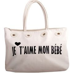 """French """"I love my baby"""" bag A cute tote with a message 'Je T'aime Mon Bebe' meaning 'I love my baby' in French. A sweet hold-all that could also double as a baby bag after your pregnancy. Comes with scarf and bag.  A proceed from when I purchased the bag went towards research for postnatal depression. Fabric Content: 100% Cotton. Bag was used for a little while and needs some cleaning. Bags Baby Bags"""