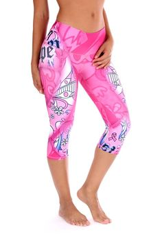 "These beautiful Brazilian ""choose hope"" breast cancer awareness print capris are super fun and durable providing a four way stretch and a body slimming design! Features: Wide waistband Suitable for Running, Yoga, Pilates, Working Out, Dance, cycling and More Pilling resistant Quick Dry Superior polyester Cool, thick and soft material Size Chart: S/M 0-6 (US) M/L 6-10 (US) L/XL 10-14 (US)"