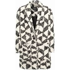 Maison Scotch Geo Cocoon Coat, Black/White (1 005 PLN) ❤ liked on Polyvore featuring outerwear, coats, lapel coat, maison scotch coat, long sleeve coat, black white coat and cocoon coat