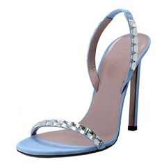 Gucci Women's Blue Suede High Heel Open Toe Pumps Shoes . Available at http://Brandinia.com