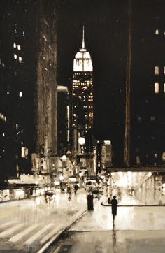 """Geoffrey  Johnson, """"Study Fifth Avenue Evening"""" - 27x18, oil on panel--at Principle Gallery"""
