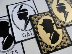 Bathroom Signs Set of 2 / Deco Scallop Cameo by punchpaper on Etsy, $5.00