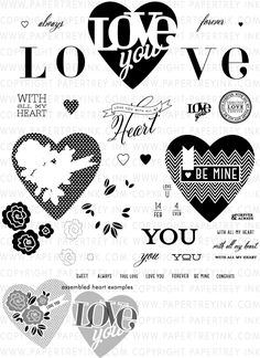 With All My Heart Stamp Set: Papertrey Ink Clear Stamps Dies Paper Ink Kits Ribbon