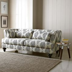 I love this sofa... the clean lines and the fact that it comes in other patterns is wonderful!  It would be great in our living room!