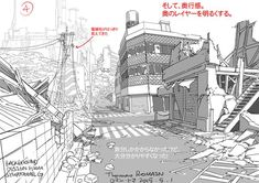 Thomas Romain is a terrific artist working in the anime industry in Tokyo. Previously, he showed how to draw detailed buildings. This time, we're going to learn from him how to draw backgrounds. (Read more in the article) Background Drawing, Line Background, Landscape Background, Moe Manga, Moe Anime, Anime Art, Manga Art, Manga Anime, Drawing Techniques