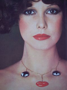 Surrealist necklace by Niki de Saint Phalle//Vogue Italia, 1974.