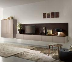 salle de séjour avec meuble TV laqué