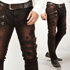 Extreme Vintage Double Belt Accent Grunge Wine Slim Jeans - 83