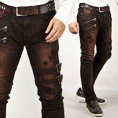 Extreme Vintage Double Belt Accent Grunge Wine Slim Jeans - 83