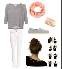 Cute but Casual! The infinity scarf goes well with the pink bracelets. The messy bun takes little time to do in the morning, and still looks good with the outfit! Toms are always a good and adorable shoe to add to an outfit. Teen girls will love this fashion choice, at least I do! :*