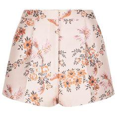 Stella McCartney Floral Print Shorts (¥50,530) ❤ liked on Polyvore featuring shorts, floral shorts, stella mccartney, white shorts, flower print shorts and floral printed shorts