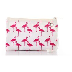 Pink Flamingo Wristlet ❤ liked on Polyvore featuring bags, handbags, clutches, white coin purse, change purse, wristlet purse, beach purse and white purse
