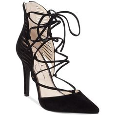 Jessica Simpson Cynessa Lace-Up Pointy-Toe Pumps ($110) ❤ liked on Polyvore featuring shoes, pumps, black, pointy toe shoes, pointy-toe pumps, pointed toe pumps, lace up pumps and pointed toe shoes