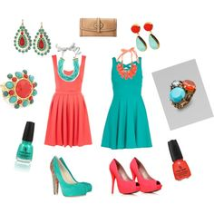 turquoise and coral BRIDESMAIDS YES