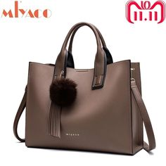 d18fabac36be Miyaco Women Leather Handbags Casual Brown Tote bags Crossbody Bag  TOP-handle bag With Tassel and fluffy ball