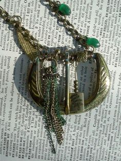 Brass and Green Wire Wrapped Belt Buckle Leaf by ARTifactsBYJANIE, $46.99