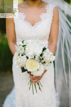 Anna's stunning white and green bouquet of David Austin roses, lisianthus, hyacinths and rich green foliage. Love! www.jademcintoshflowers.com.au cavanaghphotography.com.au