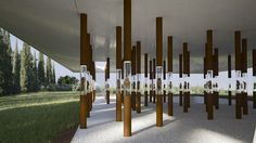 Next Post Previous Post Museum Proposal Displays Floating Figurines in Corten Columns of Light Architecture firm Shiogumo has designed a. Museum Exhibition Design, Exhibition Display, Exhibition Space, Design Museum, High Hd Wallpaper, Column Design, Museum Architecture, Space Gallery, Ancient Artifacts