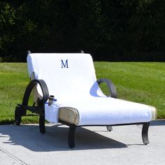 Turkish Cotton Monogrammed Towel Cover With Pockets For Standard Size Chaise  Lounge Chair (White/A), Authentic Hotel And Spa