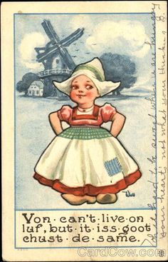 Vintage postcard with typical Dutch illustration (and English text!)
