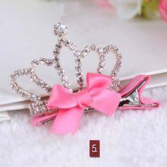 1 PC Cute Style Baby Girls Children Shiny Crown Rhinestone Princess Hairpins Rabbit Ears Crystal Hair Clip Hair Accessories