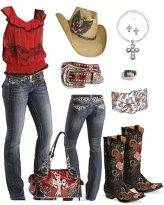 I found 'Red Country Outfit' on Wish, check it out!