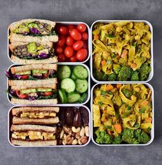 Two boxes are filled with savory sandwiches (one is a guac-black-bean sandwich and the other one a tofu-cucumber sandwich).. The box at the bottom left contains a sweet sandwich with bananas, peanut butter + chocolate spread plus there are nuts and dates. @elavegan Healthy Lunches For Work, Prepped Lunches, Vegan Lunches, Healthy Snacks, Vegan Meal Prep, Easy Meal Prep, Buttered Noodles, Vegan Lunch Box, Vegetarian Lunch