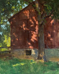 Landscape painting of the Savage River Forest in western maryland; painted by artist Patrick Saunders in oils on panel. Building Painting, Painting Workshop, Landscape Art, Landscape Paintings, Watercolor Barns, Dappled Light, Paintings I Love, Barn Paintings, Light Painting