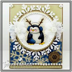 Love penguins!!  This one is especially adorable for a holiday card.  Handmade card.