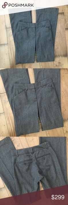 """THEORY WOOL PANTS SLACKS TROUSERS GRAY 0 WOMENS 25 Beautiful wool THEORY pants, size 0. Made in the USA. 95% wool, 3% polyamide, 2% Lycra. Dry clean only.  Waist: 25"""" Inseam: 31.5"""" Outseam: 39"""" Theory Pants Boot Cut & Flare"""