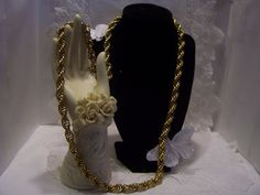 All Gold Tone Long Vintage Textured Rope Chain by 4RLoveOfAntiques, $55.00