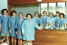 Dinner ladies 70s style. Both our mums.