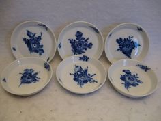"Royal Copenhagen (6) Blue Flowers 3 1/2"" Coasters in Excellent Condition 
