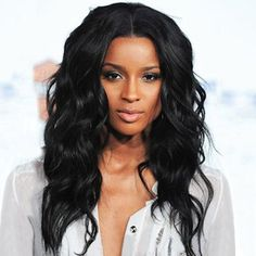 Centro de Long Encanto Partiendo sintético Vogue Shaggy ondulada Negro sin tapa peluca para las mujeres