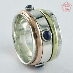 Sz 8.5 US, MASSIVE IMPRESSION LAPIS STONE 925 STERLING SILVER SPINNER RING,R4440 #SilvexImagesIndiaPvtLtd #Spinner #AllOccasions
