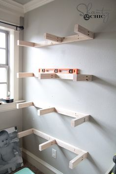 DIY Floating Shelves Plans and Tutorial - Shanty 2 Chic Hey guys! I built my youngest little lady some floating shelves for all of her junk important things, and I am sharing the plans for them today. I recently found that my Home Depot started Wood Floating Shelves, Wood Shelves, Glass Shelves, Wall Shelving, Floating Stairs, Floating Desk, Bar Shelves, White Shelves, Display Shelves