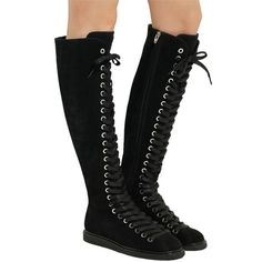 Pre-owned Alexander Wang Retro Goth Chic Suede Leather Lace Up Front... ($895) ❤ liked on Polyvore featuring shoes, boots, black, leather lace up booties, suede lace up booties, front zipper boots, goth boots and suede ankle booties
