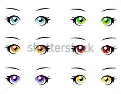 A Set of Eyes IN Manga Style, Isolated on White, Eps10 Vector Format stock vector - Clipart.me