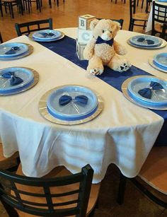 Baby Blocks, Bears and Bowties Baby Shower Party Ideas Fancy Baby Shower, Distintivos Baby Shower, Mesas Para Baby Shower, Fiesta Baby Shower, Teddy Bear Baby Shower, Boy Baby Shower Themes, Baby Shower Cakes, Baby Shower Parties, Baby Shower Gifts