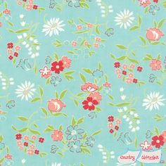 Vintage Picnic Playful Aqua Quilt Fabric by Bonnie & Camille for Moda
