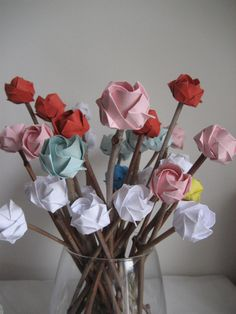 Paper Rose bouquet - origami roses on natural sticks- a bunch of  15 stems- you pick the colour