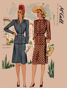 Vintage 40s McCall 4564 CLASSY Two Piece Fitted by sandritocat