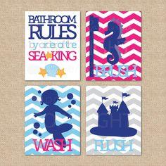 Mermaid Bathroom Rules...by order of the Sea King...Wash, Brush, Flush // 4 Print Set // Kids Bathroom Giclée Prints, 8x10 on Etsy, $59.00