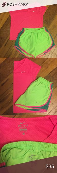 Nike Set Nike Women's size small t-shirt and shorts set Hot pink dri-fit active top Neon green and pink dri-fit shorts built in underwear  Drawstring Both size small Price is for both Excellent condition Nike Shorts Skorts