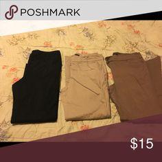 New York and company dress pants New York n company dress pants, black, tan, and khaki colors. Size 12, 98% cotton, 2% spandex. Worn for work. Very comfortable New York & Company Pants Straight Leg