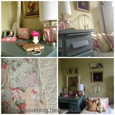 Shabby Chic girl's bedroom with painted antique furniture and vintage throws.  See more on styletomoveblog.blogspot.ca Antique Furniture, Painted Furniture, Girls Bedroom, Bedrooms, Shabby Chic, Antiques, Photos, Blog, Painting
